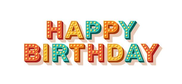 ilustraciones, imágenes clip art, dibujos animados e iconos de stock de feliz cumpleaños tipografía retro - cumpleaños
