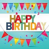 Happy Birthday Retro Vector Colorful Card