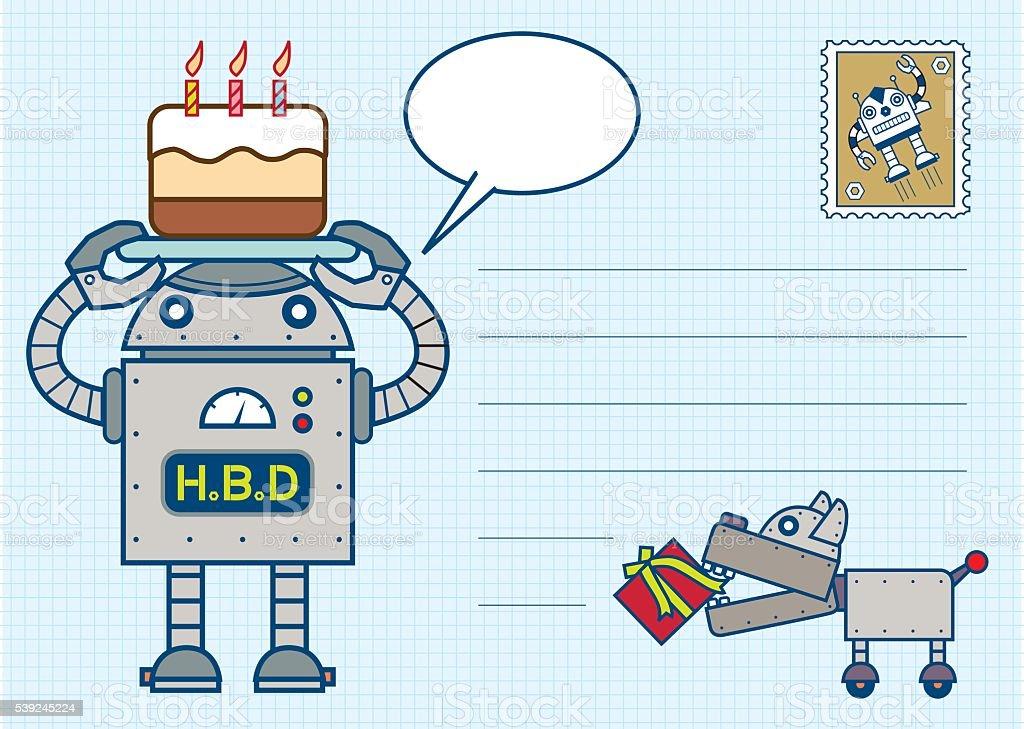 happy birthday robot postcard ilustração de happy birthday robot postcard e mais banco de imagens de aniversário royalty-free