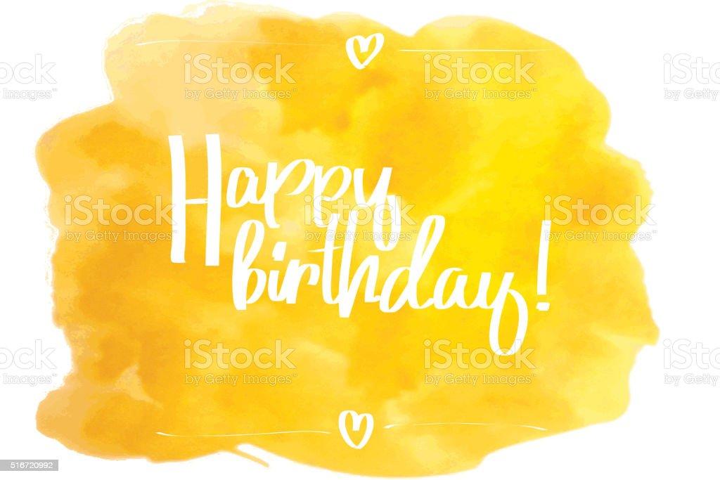 Happy Birthday Script yellow. vector art illustration