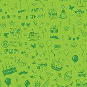 Happy birthday seamless hand drawn background pattern in vector