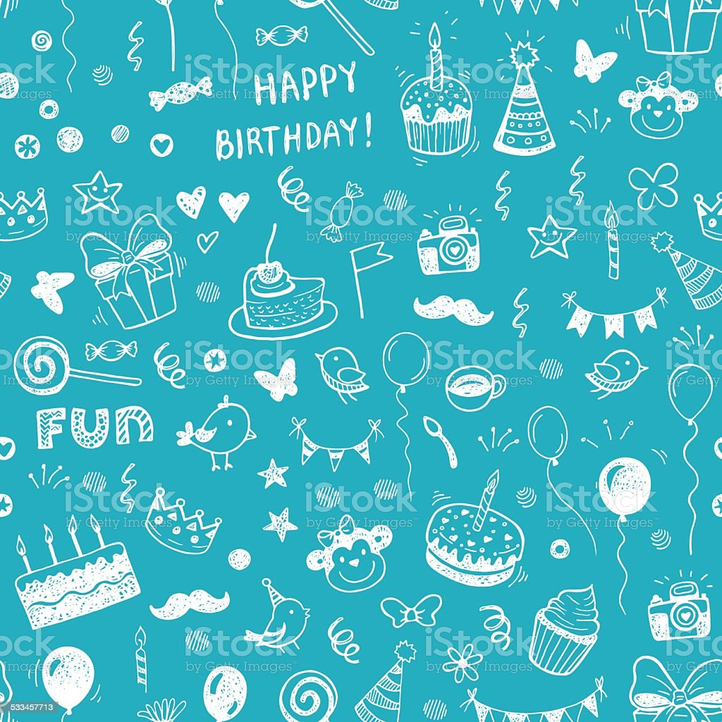 Happy birthday seamless hand drawn background