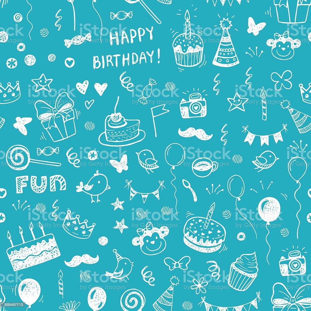 Happy birthday seamless hand drawn background vector art illustration
