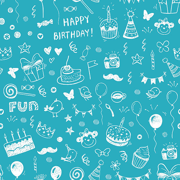 Happy birthday seamless hand drawn background Happy birthday seamless hand drawn background pattern in vector cake drawings stock illustrations
