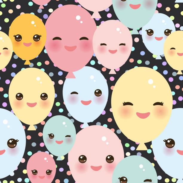 illustrations, cliparts, dessins animés et icônes de modèle sans couture de joyeux anniversaire, ballons drôles kawaii rose bleu jaune vert aux joues roses et aux yeux sur fond noir. vector - ballon anniversaire smiley