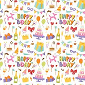 Celebratory seamless pattern with gifts, balloons, confetti, hearts. Happy birthday seamless pattern celebration decoration. Party fun card happy birthday seamless pattern greeting paper.
