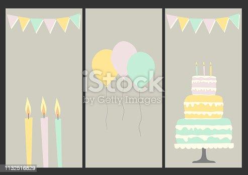 Happy birthday set of 3 greeting cards