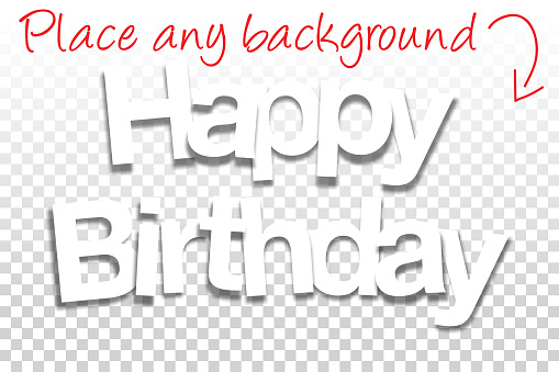 Happy Birthday Sign for Design - Paper Font, Blank Background