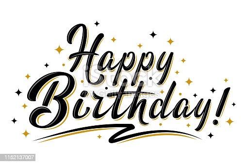 istock Happy Birthday sign with golden stars 1152137007