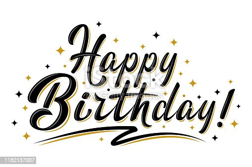 Happy Birthday sign. Hand drawn modern brush lettering with golden stars. For holiday design, postcard, party invitation, banner, poster, T-shirt print design. Isolated vector illustration