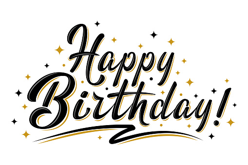 Happy Birthday sign with golden stars