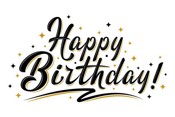 ilustraciones, imágenes clip art, dibujos animados e iconos de stock de feliz cumpleaños cartel con estrellas doradas - cumpleaños