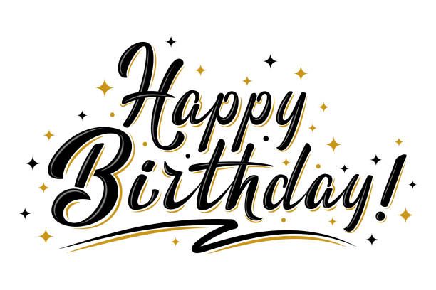 Happy Birthday sign with golden stars Happy Birthday sign. Hand drawn modern brush lettering with golden stars. For holiday design, postcard, party invitation, banner, poster, T-shirt print design. Isolated vector illustration birthday stock illustrations