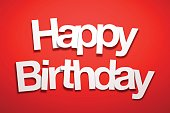 Happy Birthday sign with Red Background. The letters of the text are white and have an paper effect, they are disordered and overlap between them.