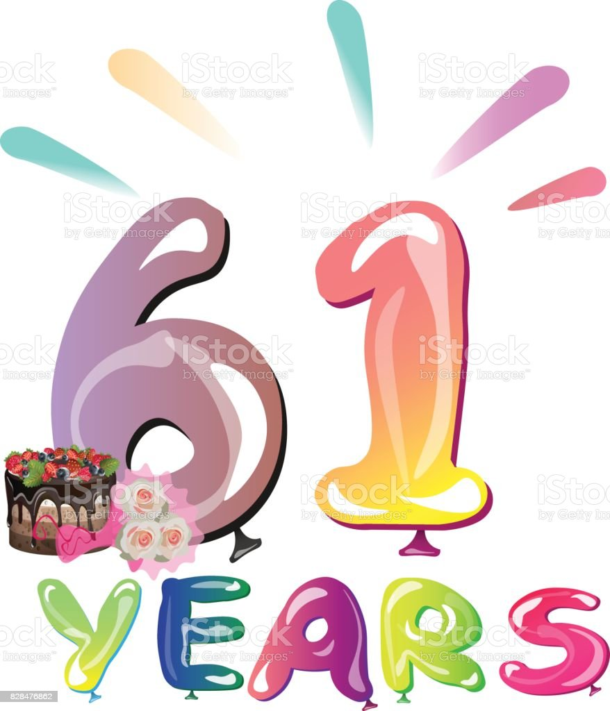 Happy Birthday Sixty One 61 Year стоковая векторная графика и