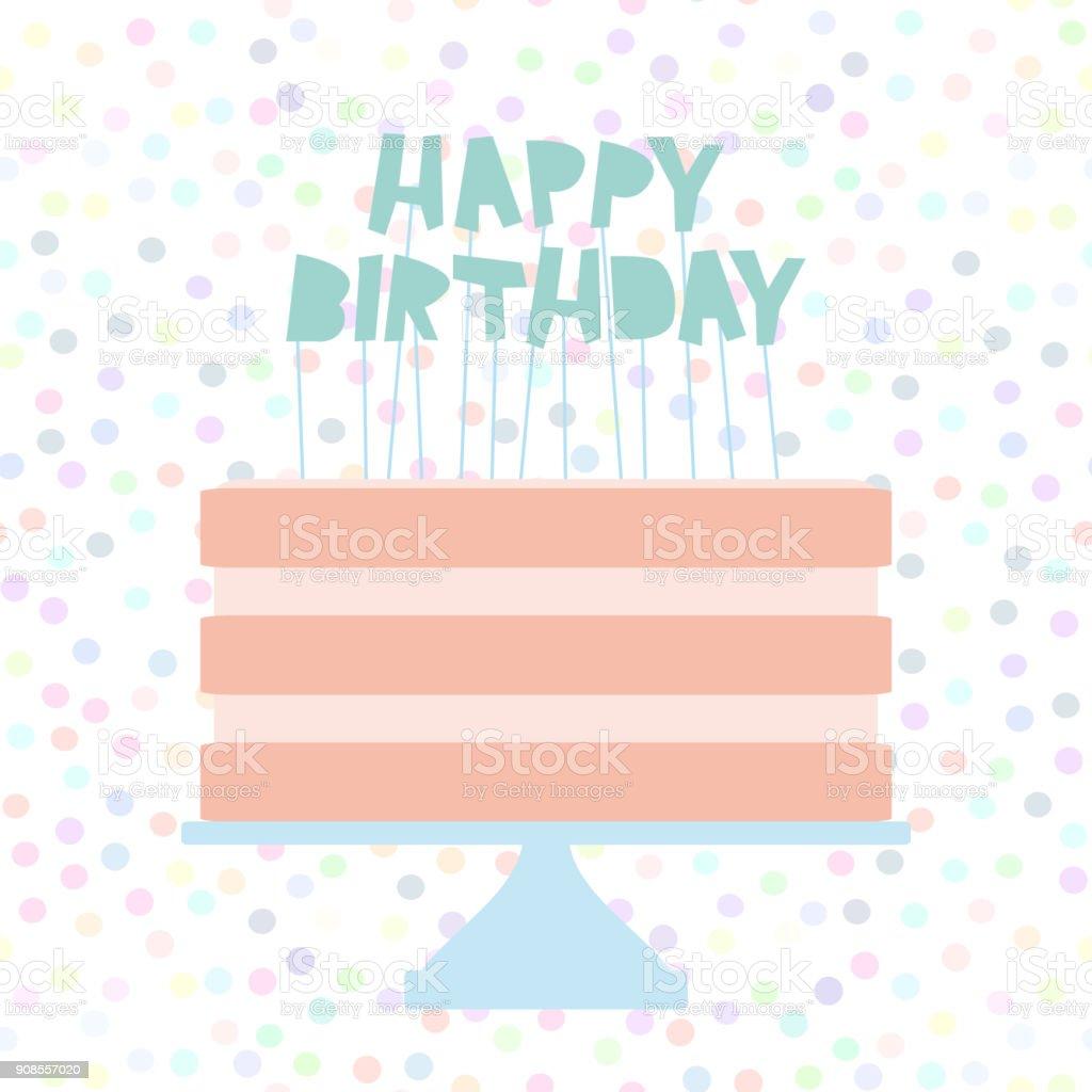 Feliz bolo de aniversário doce rosa morango creme-de-rosa, projeto bandeira, modelo de cartão, cores pastel sobre fundo branco de bolinhas. Vector - ilustração de arte em vetor