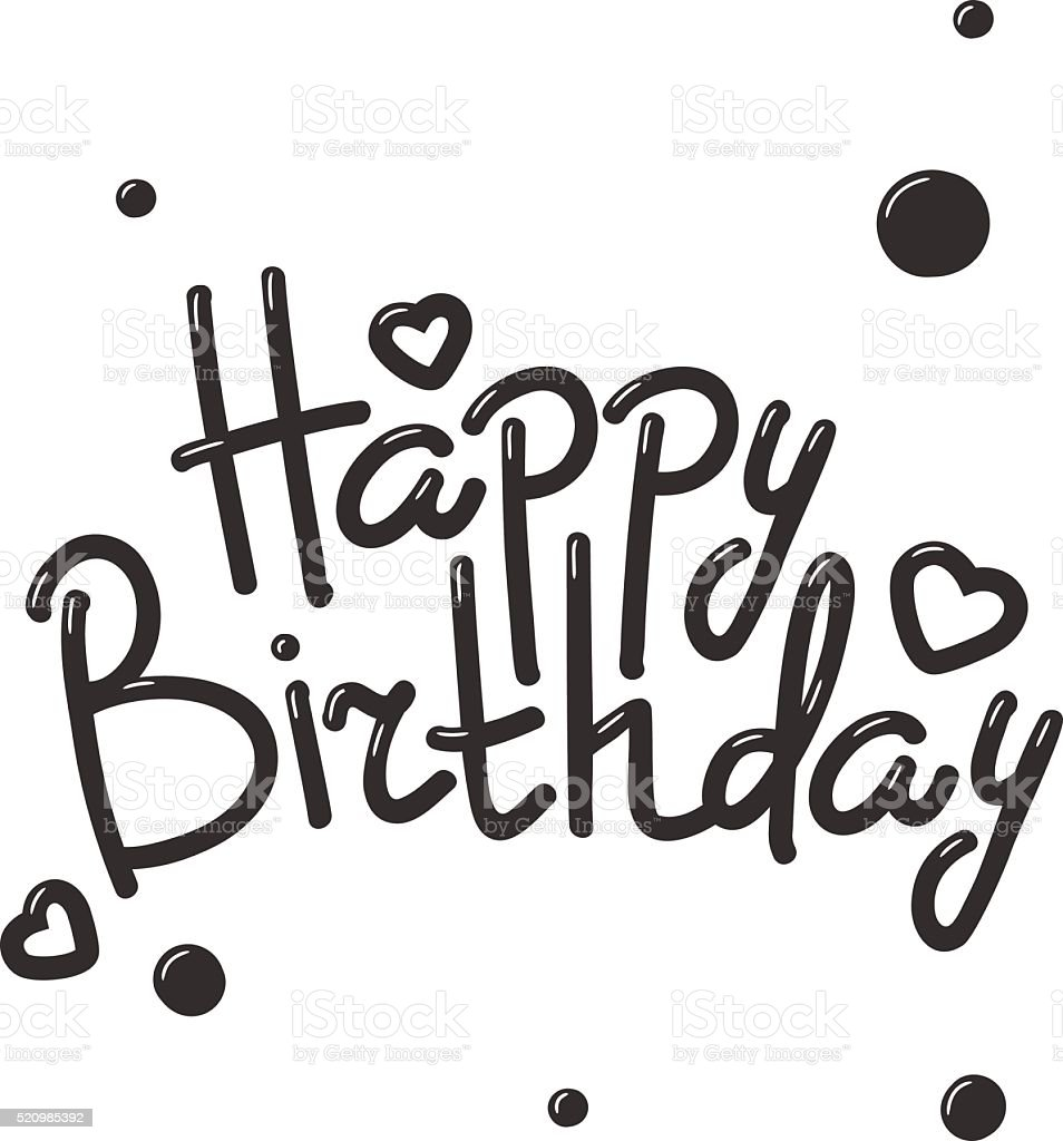 Happy Birthday Text Hand Lettering Handmade Calligraphy