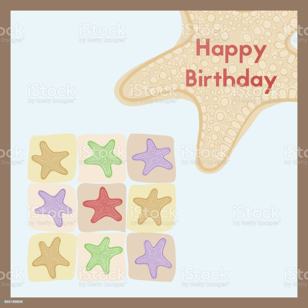 Happy Birthday The Birth Greeting Card Is Decorated With A Starfish