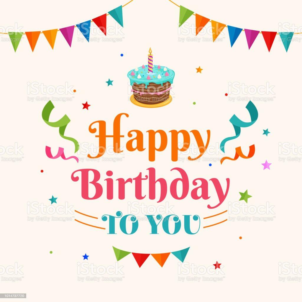 Happy Birthday To You Background Vector Birthday Cake