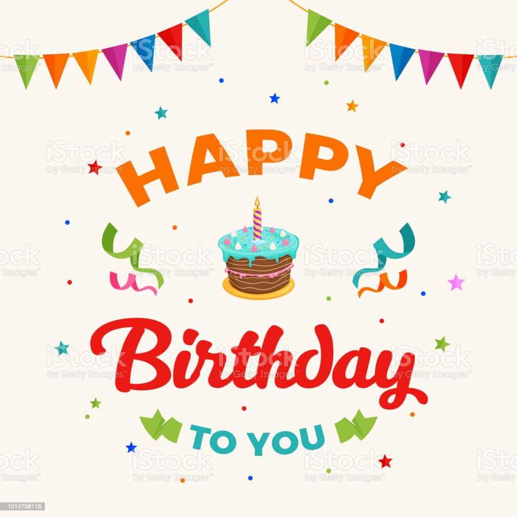 Happy Birthday To You Background Vector Birthday Cake Illustration