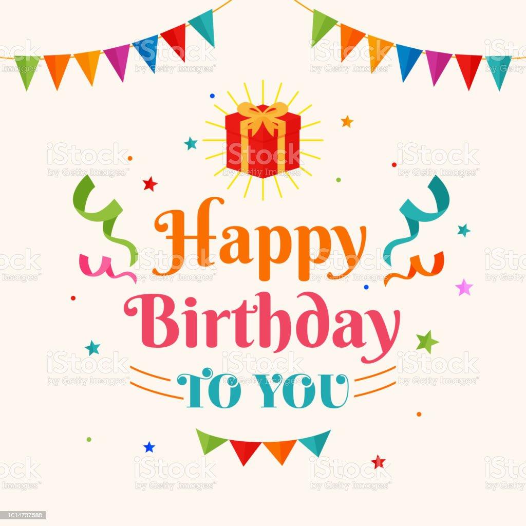 あなたに幸せな誕生日カード ベクトル党旗紙吹雪の飾りとギフト ボックス