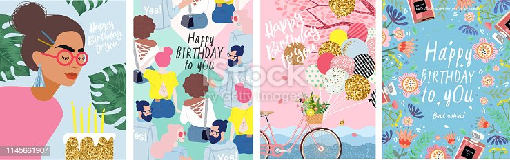 istock Happy Birthday to You! Cute vector illustration of a woman with flowers, a bicycle with balloons, young people and a floral frame for a poster, card, flyer or banner 1145661907