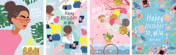ilustrações de stock, clip art, desenhos animados e ícones de happy birthday to you! cute vector illustration of a woman with flowers, a bicycle with balloons, young people and a floral frame for a poster, card, flyer or banner - mulher balões