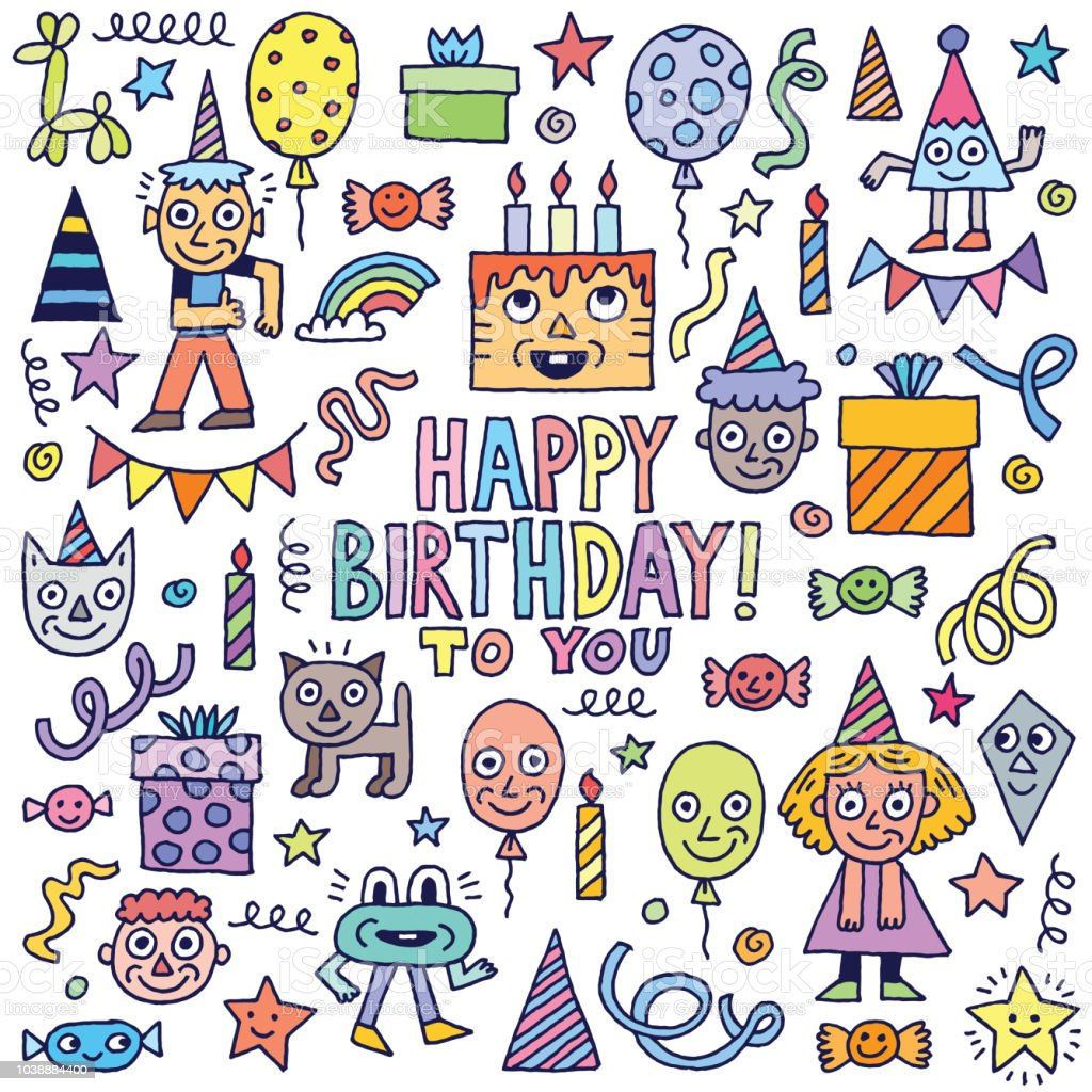 Happy Birthday To You Doodle Characters Set 1 Color Vector Illustration  Stock Illustration - Download Image Now