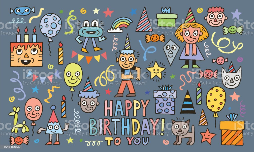 Happy Birthday To You! Doodle Characters Set 1 Colorful Vector Illustration. vector art illustration