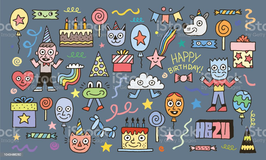 Happy Birthday To You Doodle Characters Set 2 Colorful