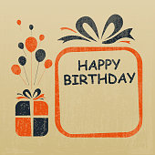 Vector of Happy birthday to you greeting card design set with grunge textured effect. EPS Ai 10 file format.
