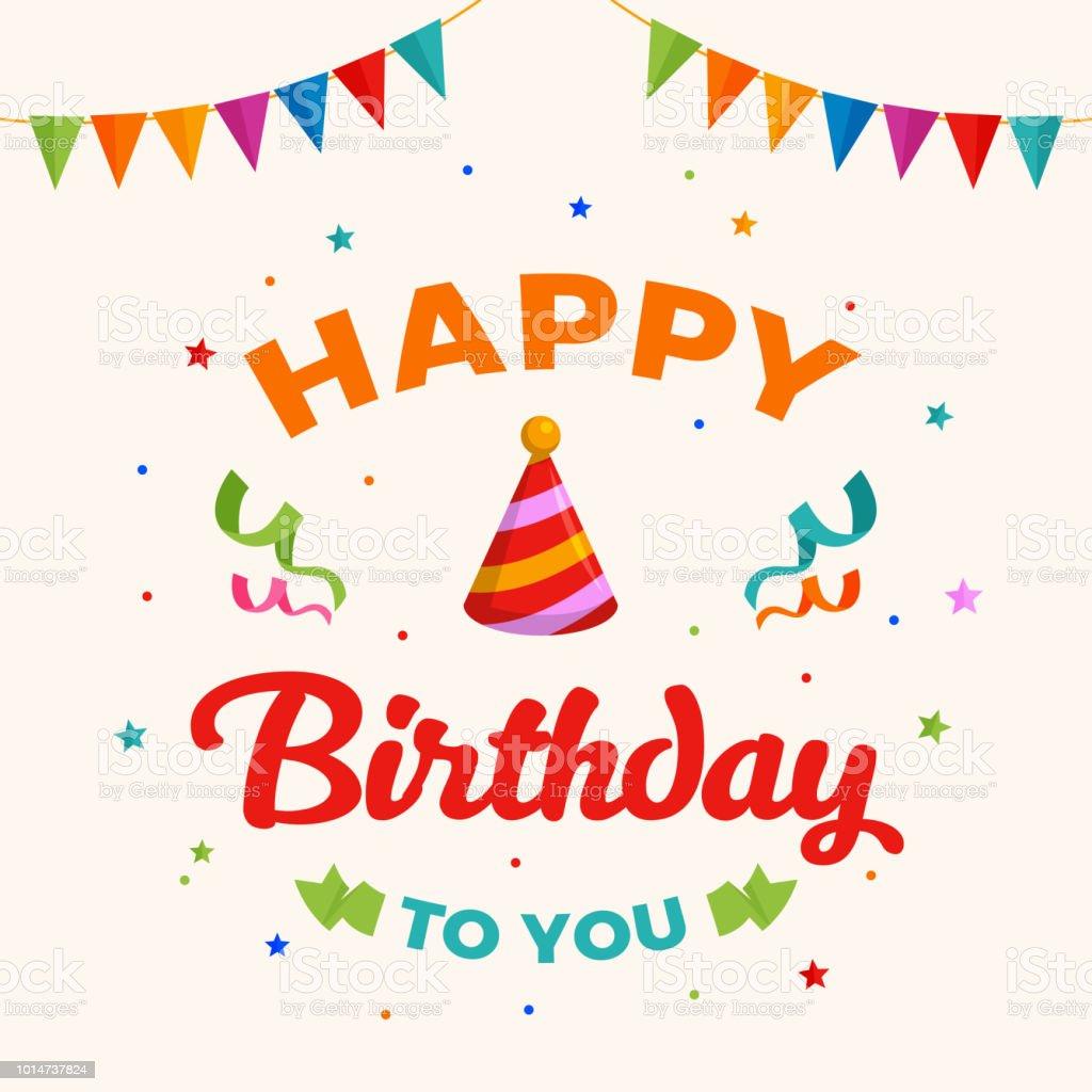 グリーティング カード ベクトルあなたにお誕生日おめでとうフラグと紙