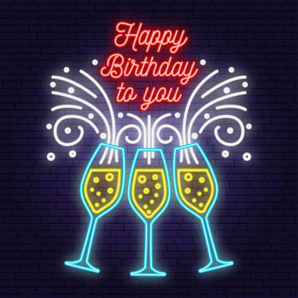 796 Happy Birthday Wine Glass Illustrations Clip Art Istock
