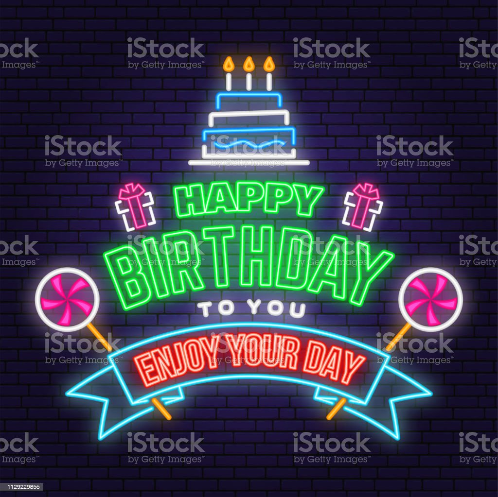 Fine Happy Birthday To You Neon Sign Stamp Badge With Birthday Cake Funny Birthday Cards Online Alyptdamsfinfo