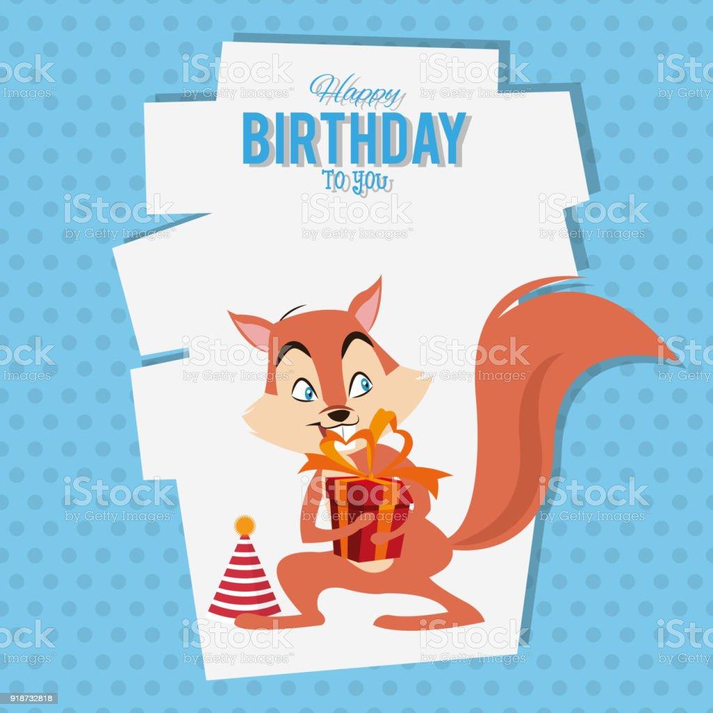 Alles Gute Zum Geburtstag Für Sie Eichhörnchen Cartoon Stock Vektor