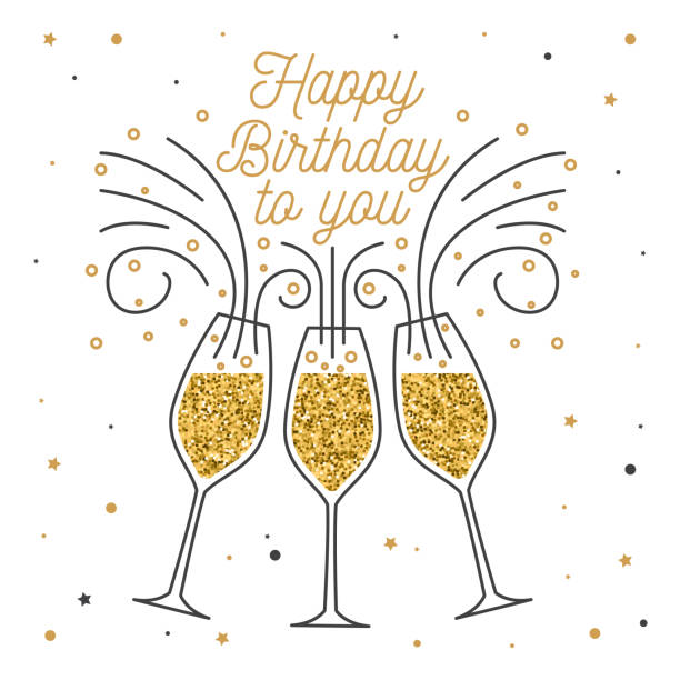 Happy Birthday To You Stamp Badge Sticker Card With Champagne Glasses