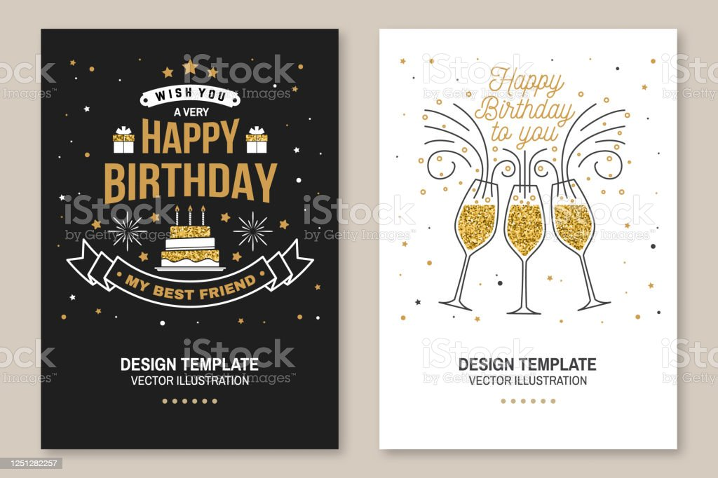 Happy Birthday To You Stamp Sticker Card With Champagne Glasses And Cake With Candles Vector Vintage Typographic Design For Invitations Birthday Celebration Emblem In Retro Style Stock Illustration Download Image Now