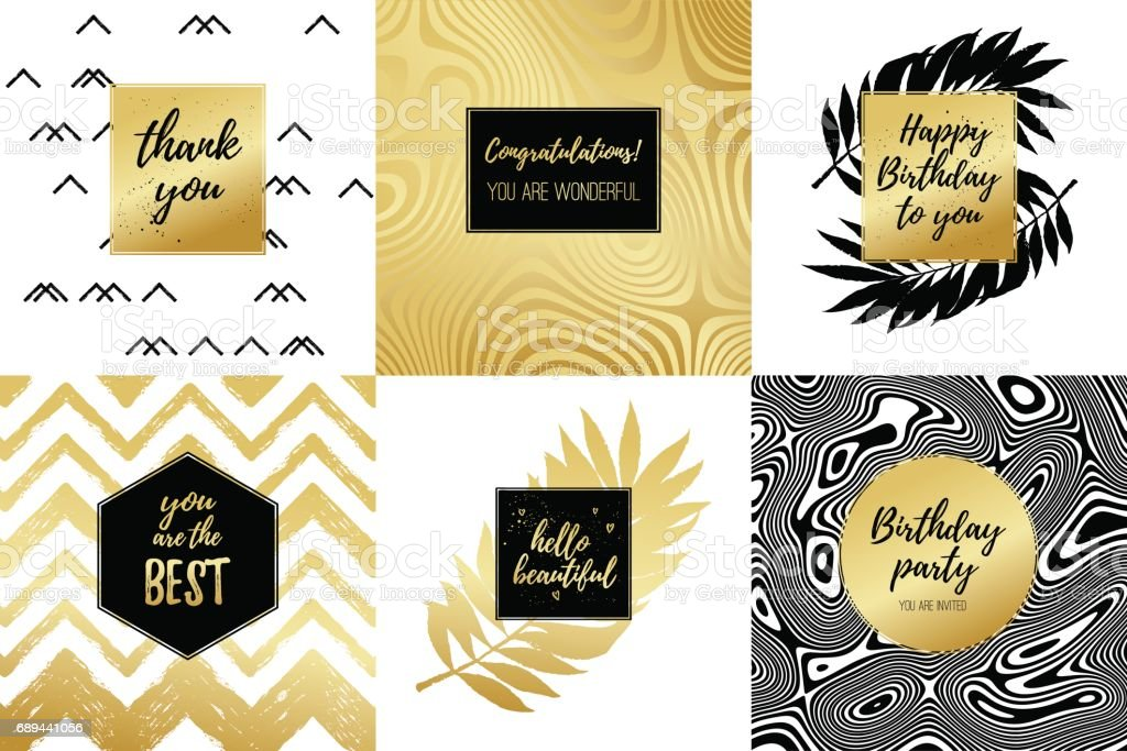 Happy Birthday to you, Thank you, Congratulations, You are the best, Hello beautiful fashion typography posters, greeting cards set. Vector summer background with tropical palm tree leaves, strips. vector art illustration