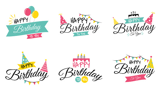 Happy birthday to you typography and handwriting colorful party collection set isolated on white background vector