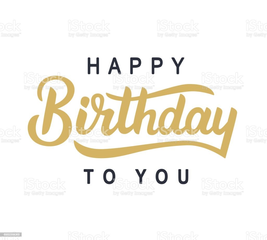 happy birthday to you typography poster template with hand