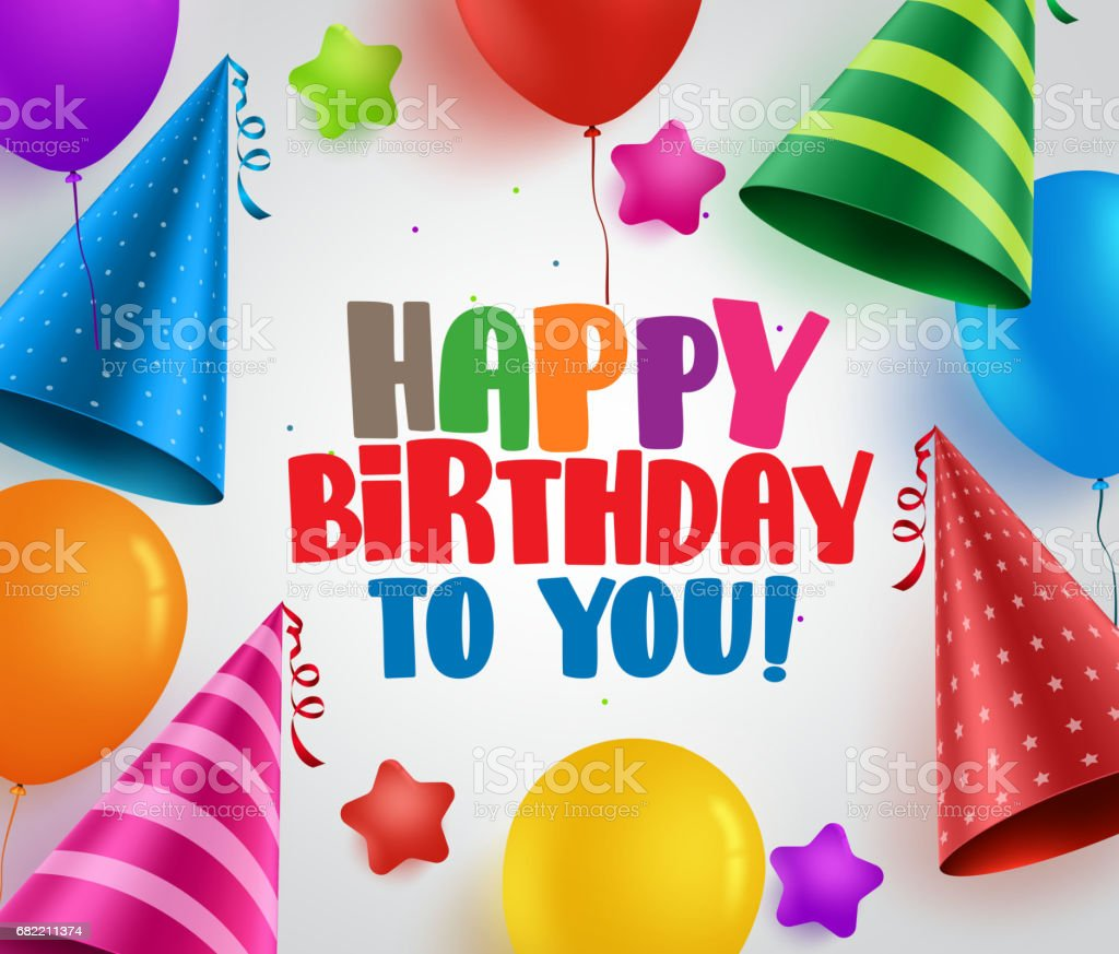 Happy birthday to you vector greeting card background design vector art illustration