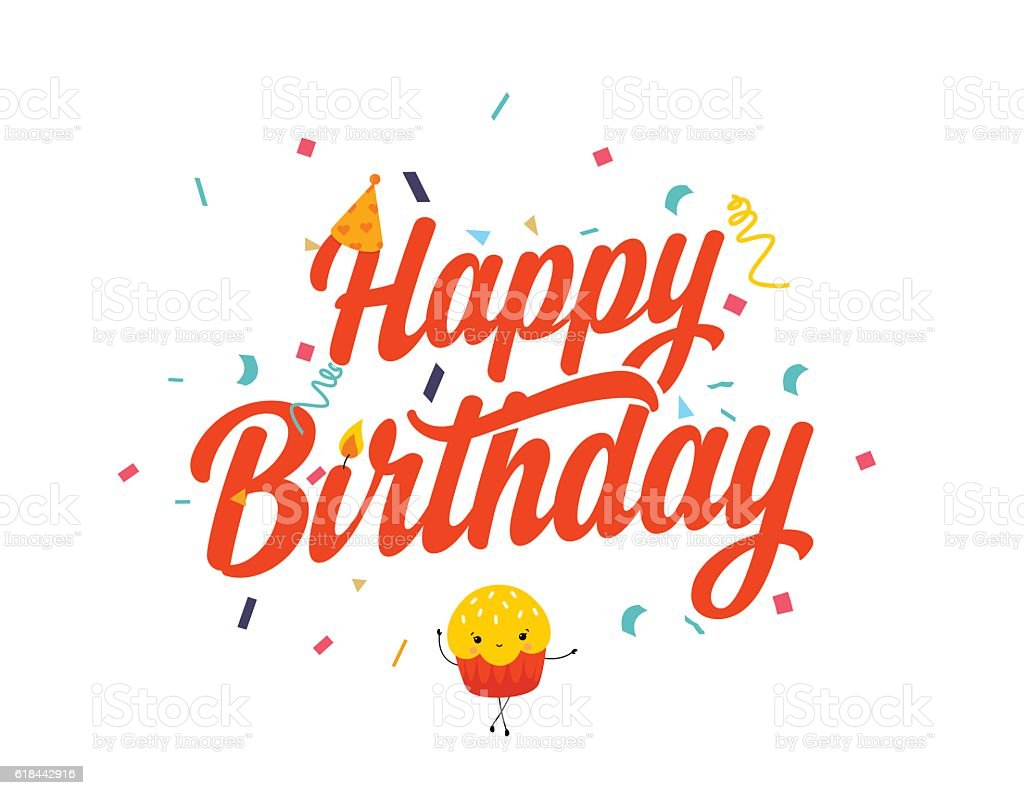 Happy Birthday typo card vector art illustration