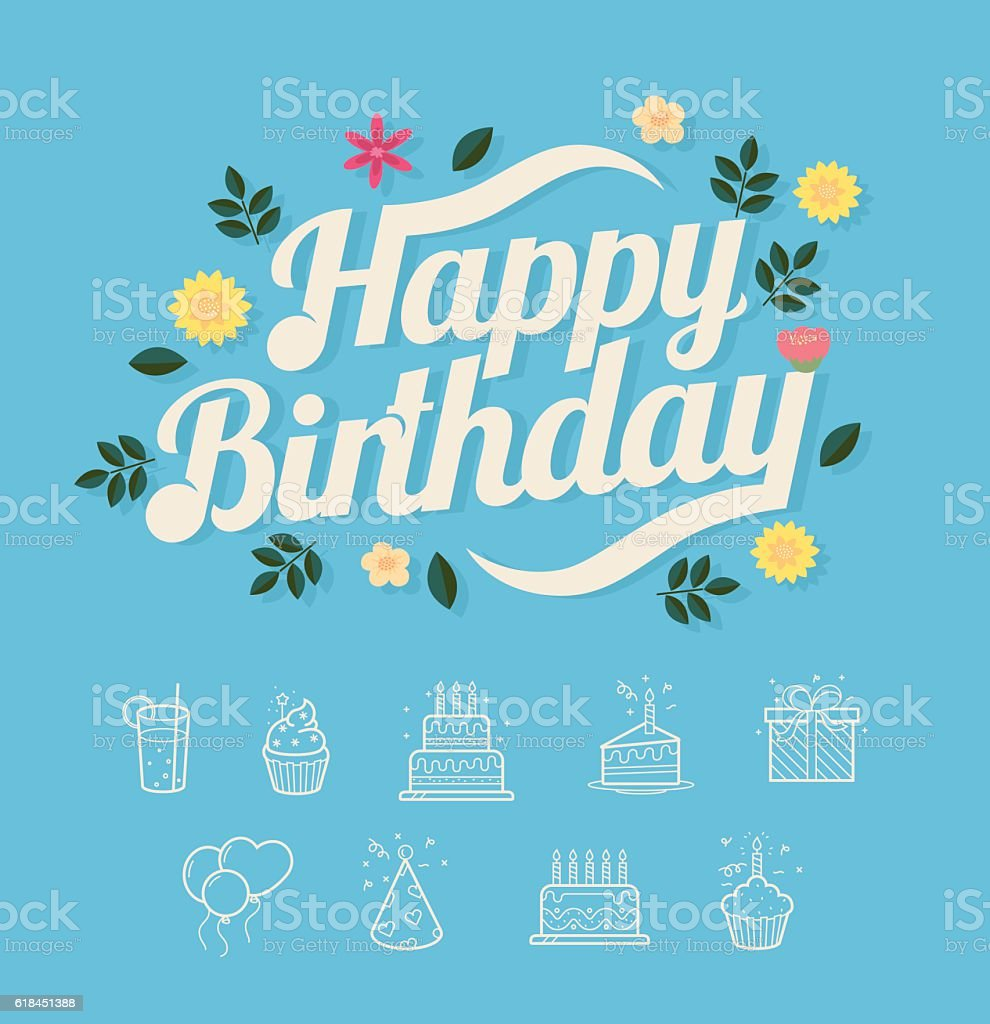 Happy birthday typo with flower and birthday icons stock vector art happy birthday typo with flower and birthday icons royalty free happy birthday typo with flower izmirmasajfo