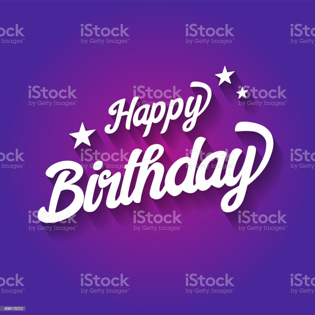 happy birthday typographic on violet background design for poster