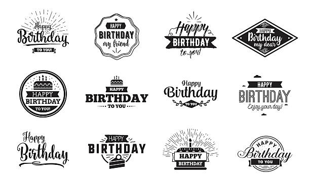 Happy Birthday typographic set. Vector design vector art illustration