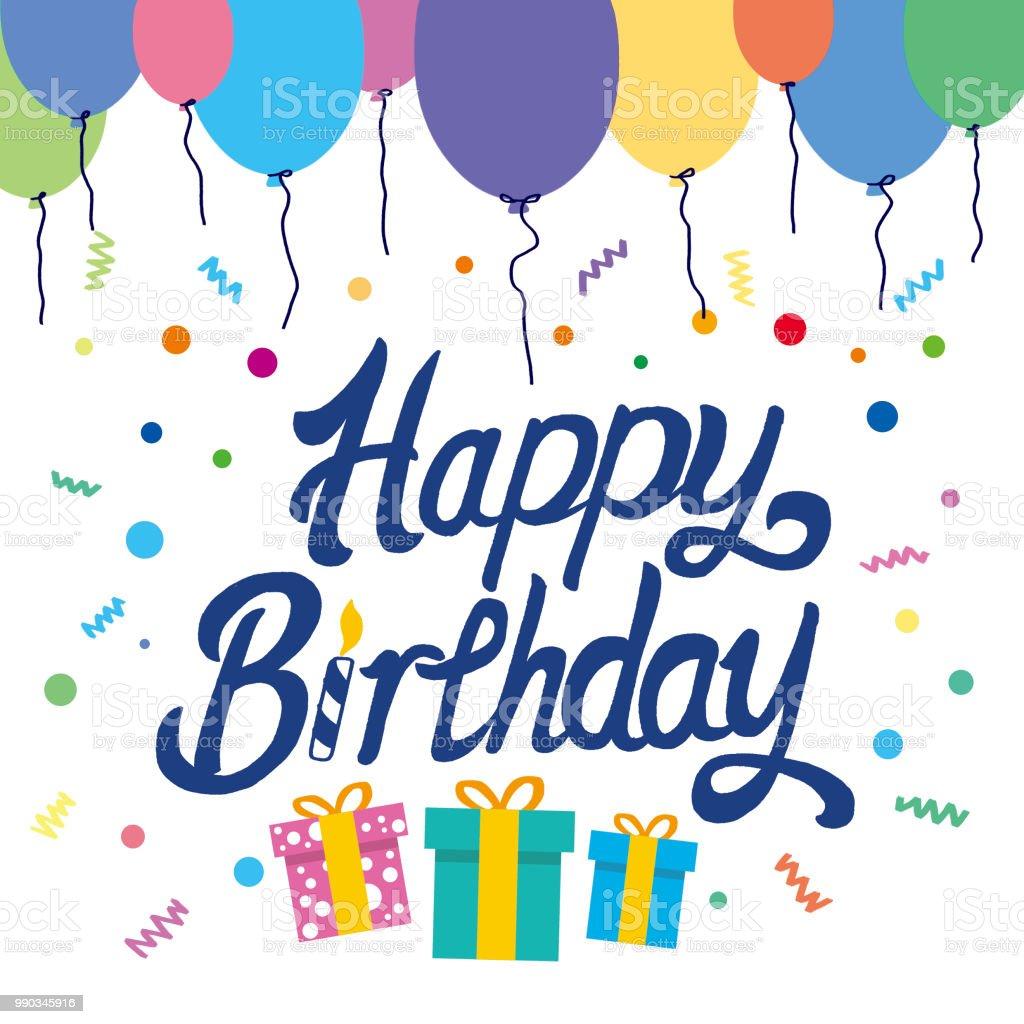 Happy Birthday Typografische Vektor Design Fur Grusskarten Geburtstagskarte Einladungskarte Isolierte Geburtstag Text