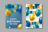 Happy Birthday typography design with blue and yellow balloons, bunting flags. Template for greeting banner or card. Vector illustration.