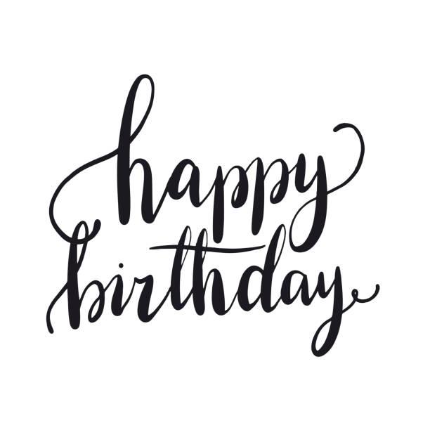 Best Happy Birthday Writing Illustrations, Royalty-Free