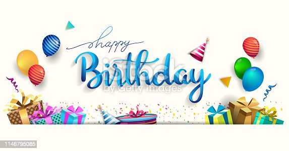 Happy Birthday typography vector design for greeting cards and poster with balloon, confetti and gift box, design template for birthday celebration.