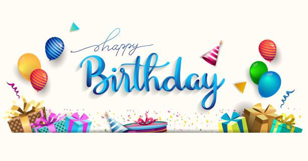 ilustraciones, imágenes clip art, dibujos animados e iconos de stock de feliz cumpleaños tipografía vector diseño para tarjetas de felicitación y cartel con globo, confeti y caja de regalo, plantilla de diseño para la celebración de cumpleaños. - cumpleaños